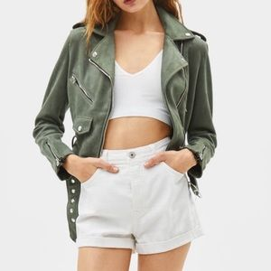 Bershka faux suede biker jacket khaki size XS